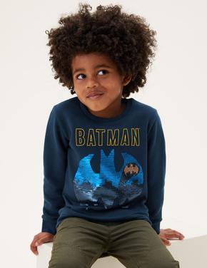 Erkek Çocuk Gri Batman™ Çift Yönlü Pullu Sweatshirt (2-7 Yaş)