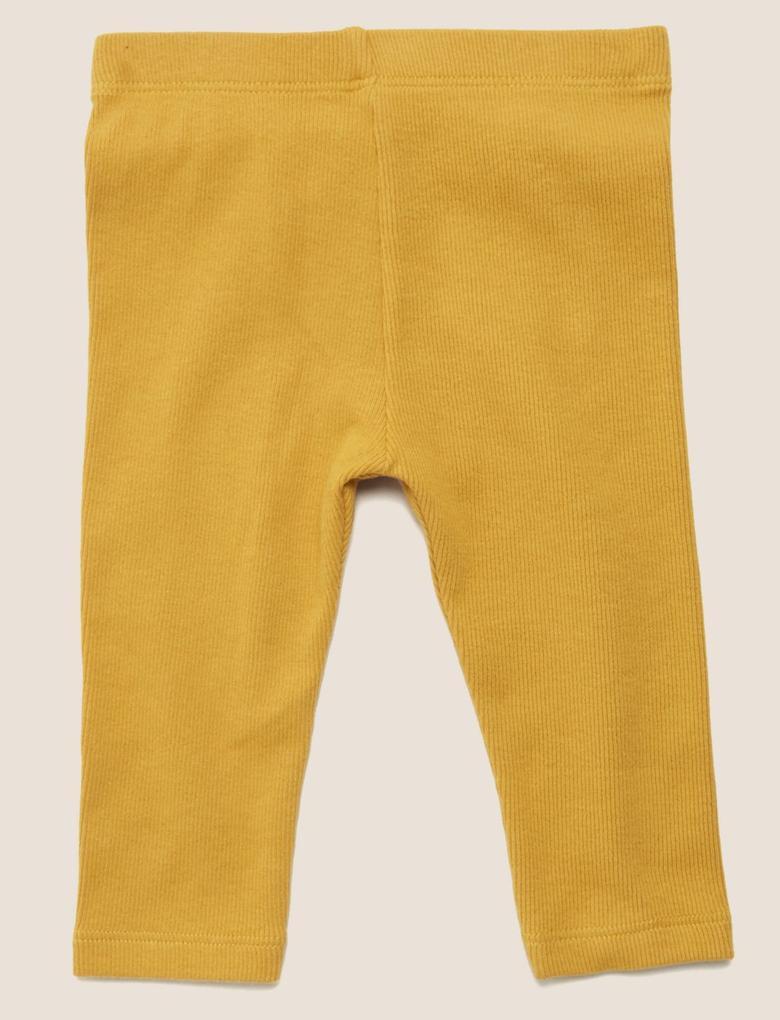 Bebek Sarı Fitilli Legging Tayt (0-3 Yaş)