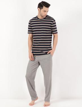 Erkek Lacivert Saf Pamuk Pijama Takımı