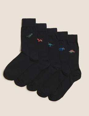 Erkek Siyah Cool & Fresh™ 5'li Dinozor Desenli Çorap