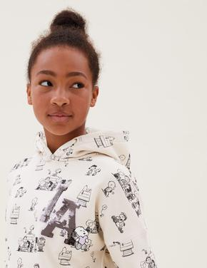 Kız Çocuk Beyaz Snoopy™ Kapüşonlu Pullu Sweatshirt (6-16 Yaş)