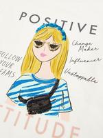Kız Çocuk Beyaz Saf Pamuk Grafik Desenli Uzun Kollu T-Shirt