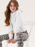 Kız Çocuk Gri Metalik Şerit Desenli Kapüşonlu Sweatshirt (6-16 Yaş)