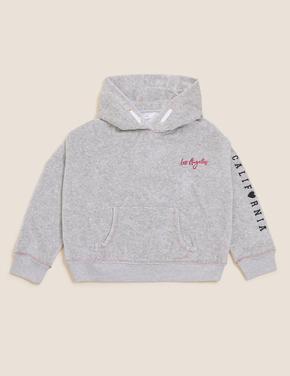 Kız Çocuk Gri Slogan Desenli Kapüşonlu Sweatshirt (6-16 Yaş)