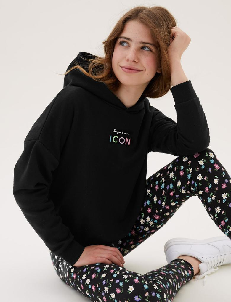 Kız Çocuk Siyah Slogan Desenli Kapüşonlu Sweatshirt (6-16 Yaş)