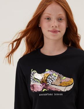 Kız Çocuk Siyah Saf Pamuk Çift Yönlü Pullu T-Shirt (6-16 Yaş)