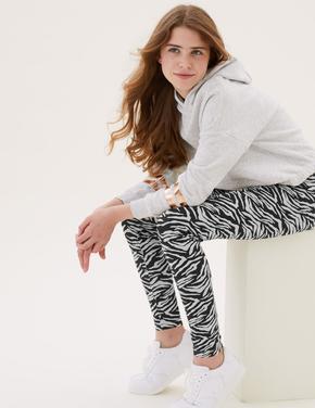Kız Çocuk Krem Zebra Desenli Legging Tayt (6-16 Yaş)