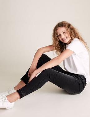 Kız Çocuk Siyah Yırtık Detaylı Skinny Denim Jean (6-16 Yaş)