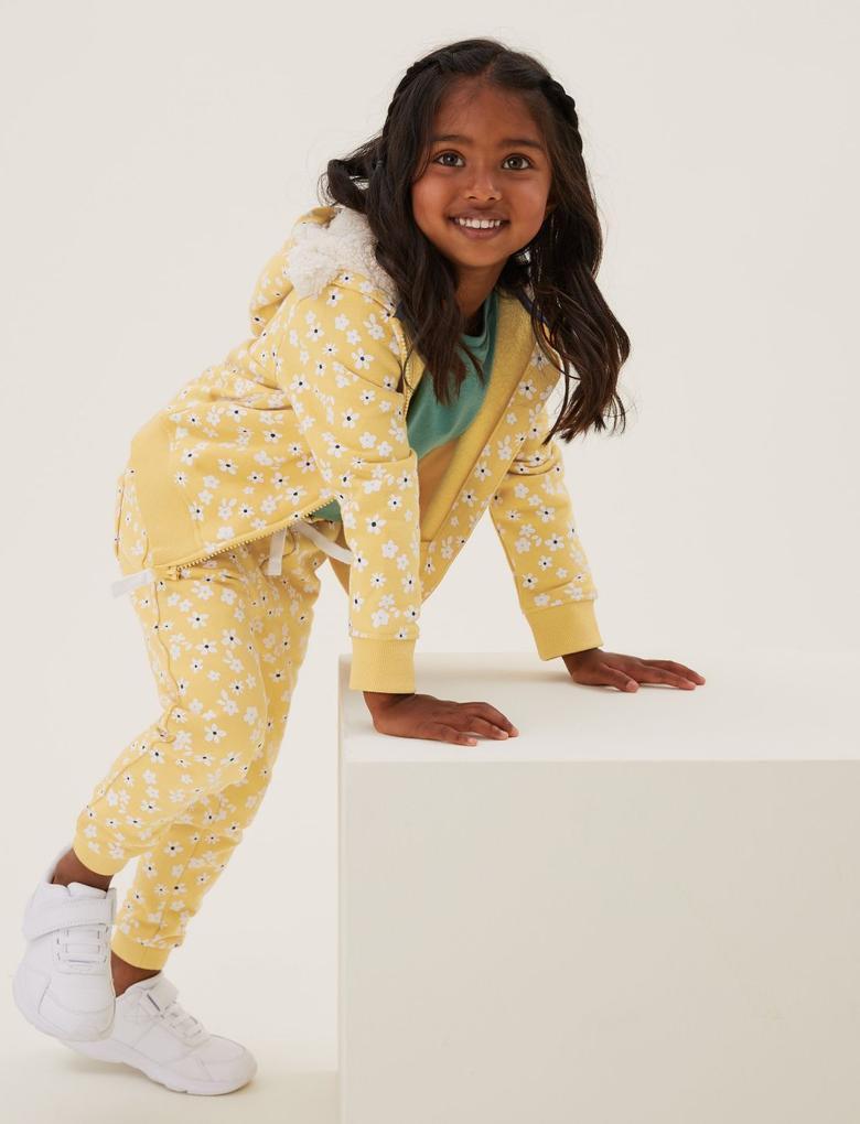 Kız Çocuk Sarı Çiçek Desenli Eşofman Altı (2-7 Yaş)