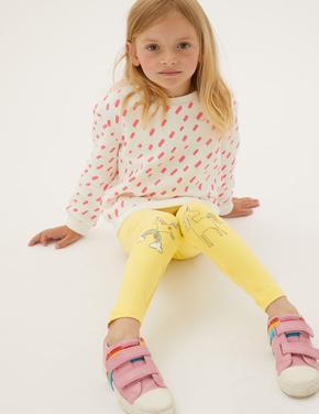 Kız Çocuk Sarı Unicorn Desenli Legging Tayt (2-7 Yaş)