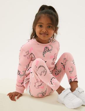 Kız Çocuk Pembe Dinozor Desenli Legging Tayt (2-7 Yaş)