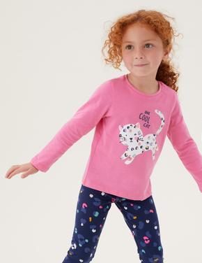 Kız Çocuk Pembe Saf Pamuk Leopar Desenli T-Shirt (2-7 Yaş)