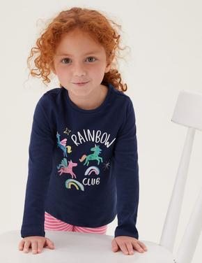 Kız Çocuk Lacivert Saf Pamuk Unicorn Desenli T-Shirt (2-7 Yaş)