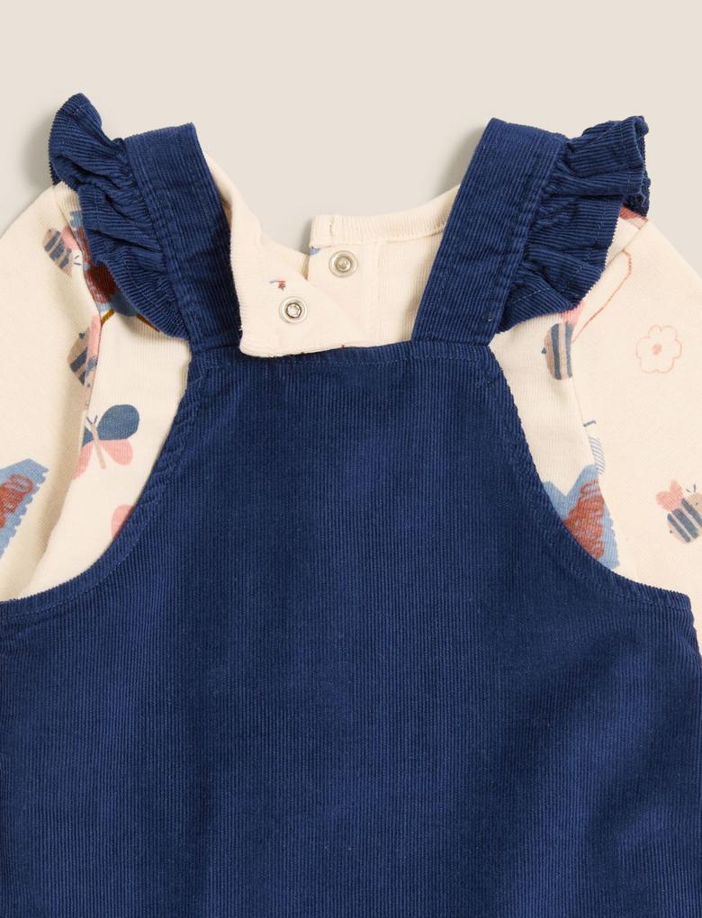 Bebek Lacivert Saf Pamuk 2'li Elbise Takımı (0-3 Yaş)