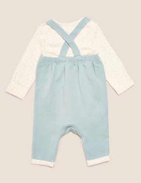 Bebek Mavi 2'li Tavşan Desenli Tulum (0-3 Yaş)