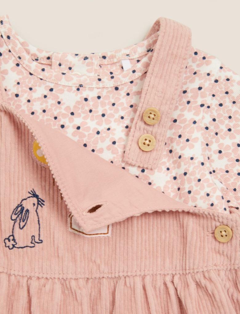 Bebek Pembe 3'lü Fitil Desenli Elbise Takımı (0-3 yaş)