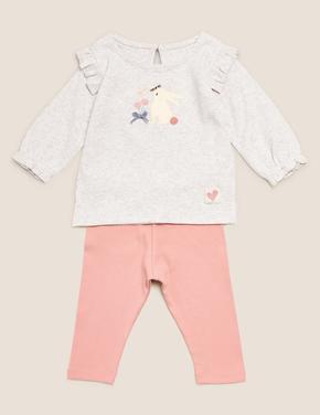 Bebek Pembe 2'li Tavşan Desenli Takım (0-3 Yaş)