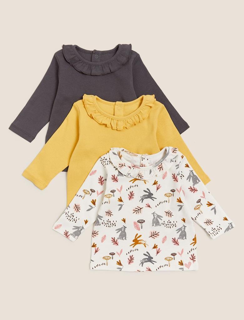 Bebek Sarı Saf Pamuk 3'lü T-Shirt (0-3 Yaş)