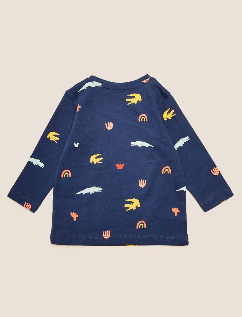 Bebek Lacivert Saf Pamuk 3'lü Timsah Desenli T-Shirt (0-3 Yaş)