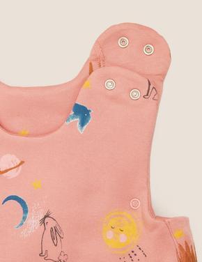 Bebek Pembe Saf Pamuk 2.5 Tog Grafik Desenli Uyku Tulumu (0-36 Ay)