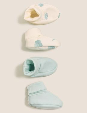Bebek Mavi Saf Pamuk 2'li Patik (0-12 Ay)