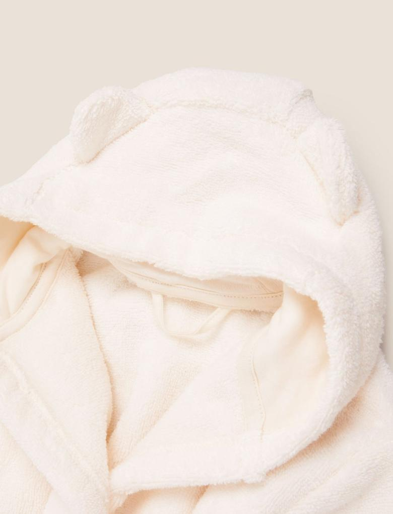 Bebek Krem Saf Pamuk 3D Kulak Detaylı Kapüşonlu Bornoz (0-3 Yaş)