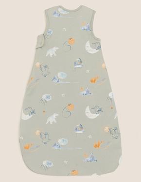 Bebek Yeşil Saf Pamuk 2.5 Tog Grafik Desenli Uyku Tulumu (0-36 Ay)