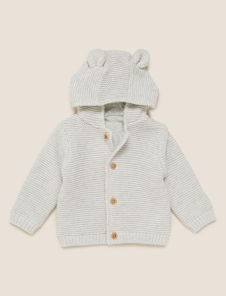 Bebek Gri Saf Pamuk Kapüşonlu Örme Hırka (0-3 Yaş)