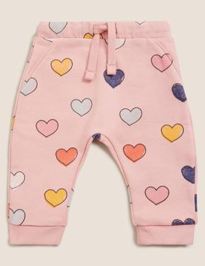 Bebek Pembe Kalp Desenli Eşofman Altı (0-3 Yaş)