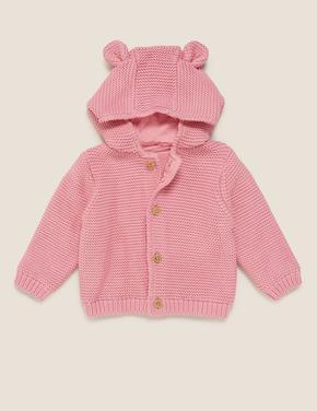 Bebek Pembe Saf Pamuk Kapüşonlu Örme Hırka (0-3 Yaş)