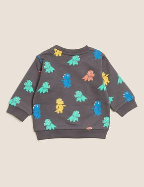 Bebek Gri Dinozor Desenli Sweatshirt (0-3 Yaş)