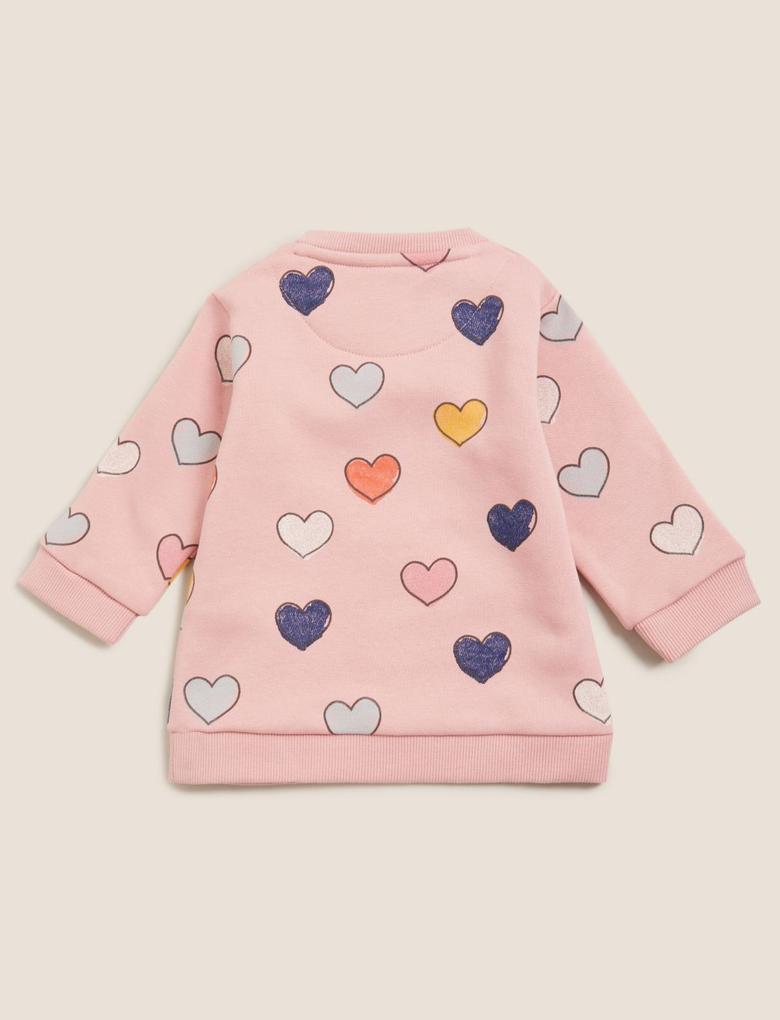 Bebek Pembe Kalp Desenli Sweatshirt (0-3 Yaş)