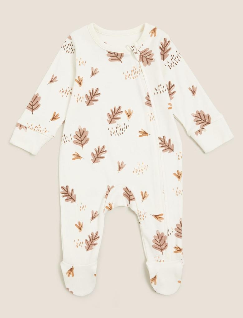 Bebek Yeşil Saf Pamuk 2'li Grafik Desenli Uyku Tulumu (0-3 Yaş)