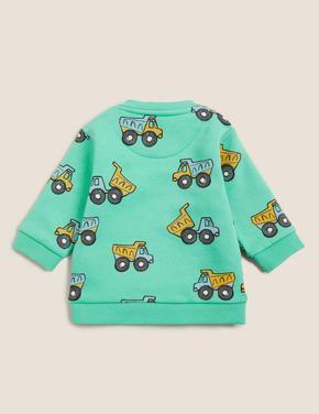 Bebek Mavi Kamyon Desenli Sweatshirt (0-3 Yaş)