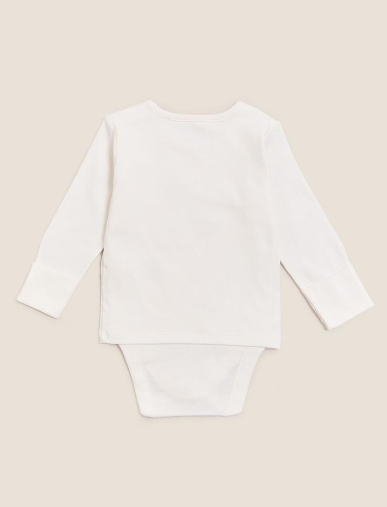 Bebek Krem Saf Pamuk 3'lü Birleşik Bodysuit (0-3 yaş)