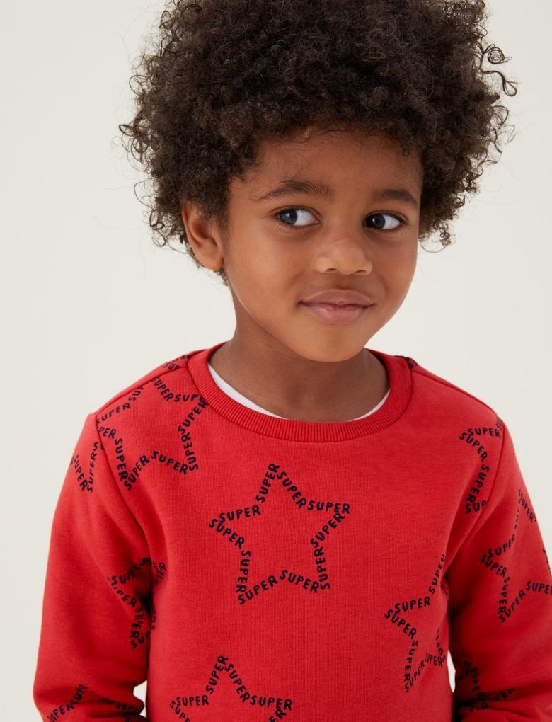 Erkek Çocuk Turuncu Yıldız Desenli Sweatshirt (2-7 Yaş)
