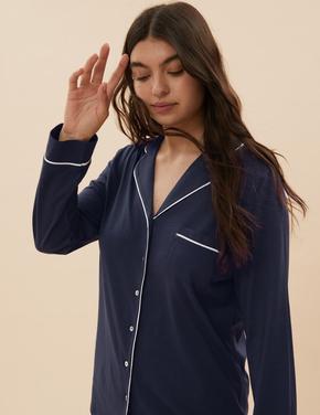 Kadın Lacivert Modal Karışımlı Pijama Takımı