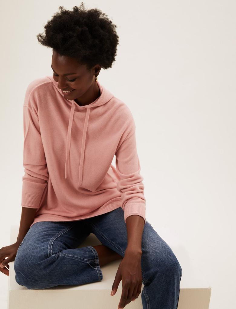 Kadın Pembe Supersoft Kapüşonlu Sweatshirt