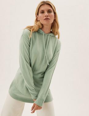 Kadın Yeşil Supersoft Kapüşonlu Sweatshirt