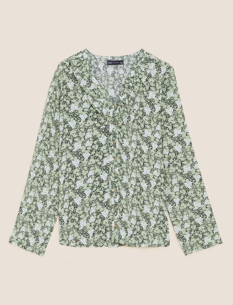 Kadın Yeşil Fırfır Detaylı V Yaka Bluz