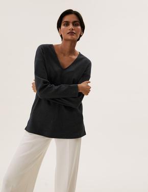 Kadın Gri V Yaka Uzun Kollu Bluz