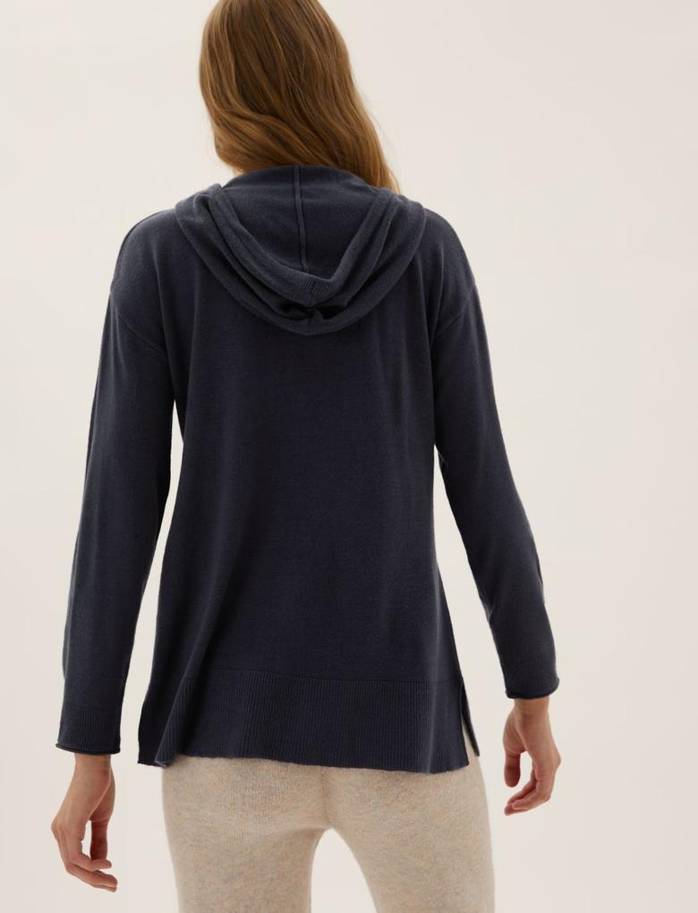 Kadın Lacivert Supersoft Kapüşonlu Sweatshirt