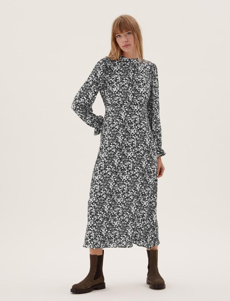 Kadın Siyah Çiçek Desenli Dik Yaka Midi Elbise
