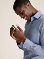 Erkek Mavi Saf Pamuk Ütü Gerektirmeyen Regular Fit Gömlek