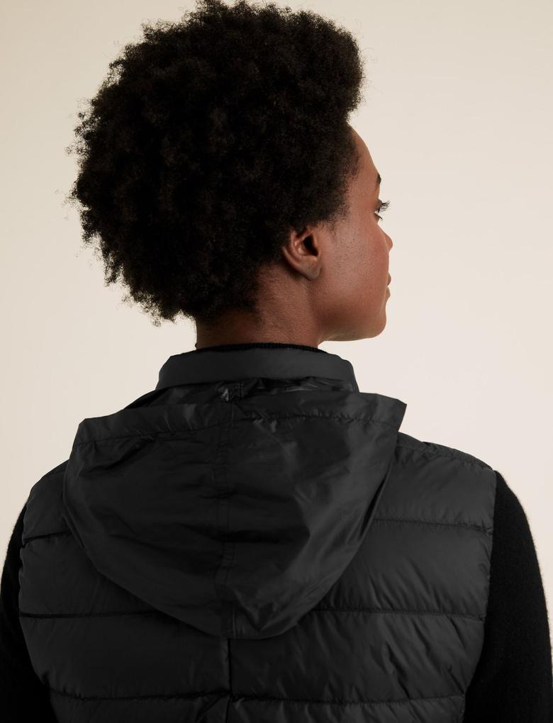 Kadın Siyah Hafif Kaz Tüyü Şişme Yelek