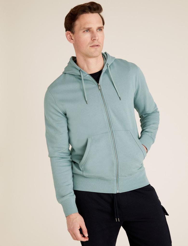 Erkek Yeşil Saf Pamuk Kapüşonlu Sweatshirt