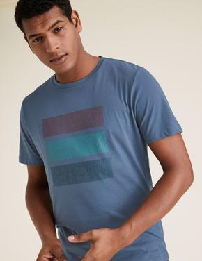 Erkek Mavi Saf Pamuk Grafik Desenli T-Shirt