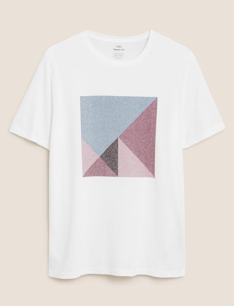Erkek Beyaz Saf Pamuk Grafik Desenli T-Shirt