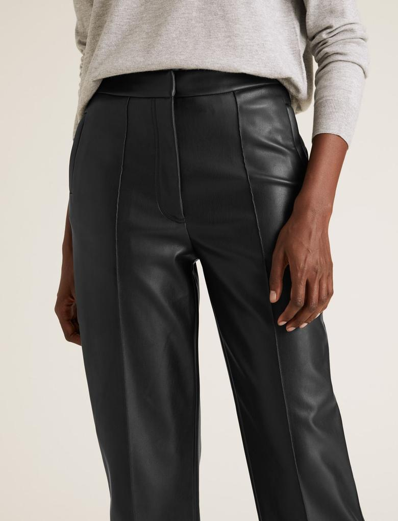 Kadın Siyah Suni Deri 7/8 Straight Leg Pantolon