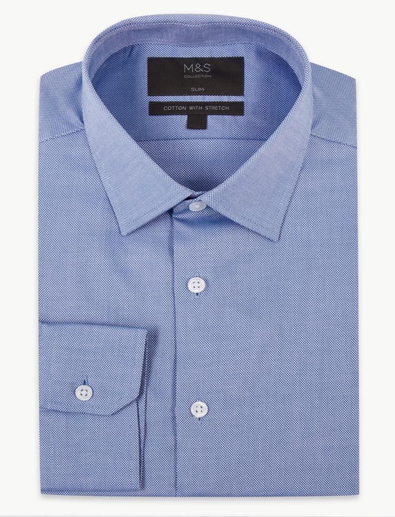 Erkek Mavi Pamuklu Esnek Slim Fit Gömlek